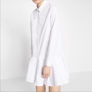 Zara crisp white long sleeve shirt dress